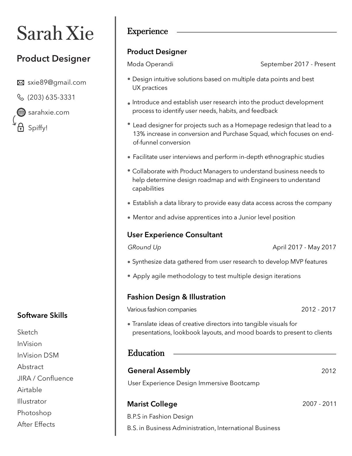 Sarah Xie 3.24 Resume